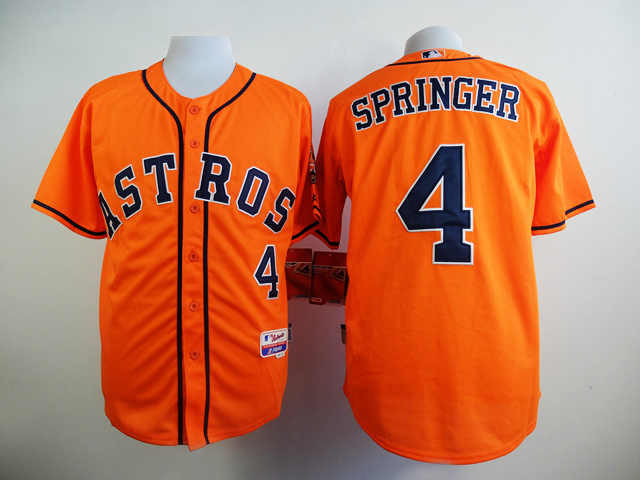 MLB Houston Astros 4 Springer Orange 2015 Jerseys