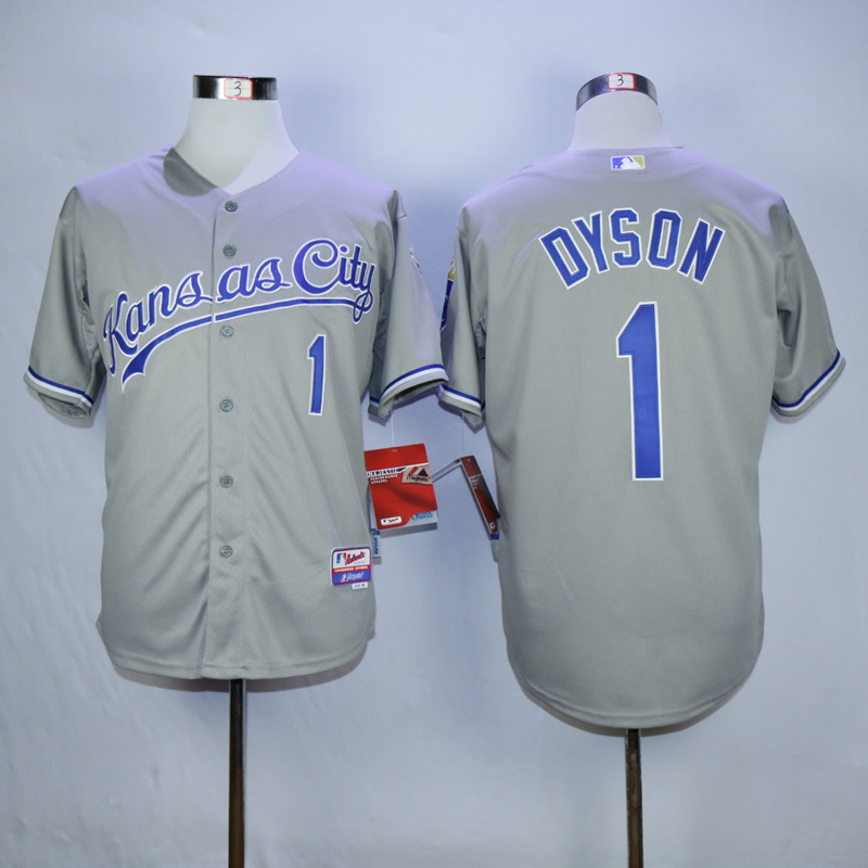 MLB Kansas City Royals 1 Jarrod Dyson Grey 2015 Jerseys