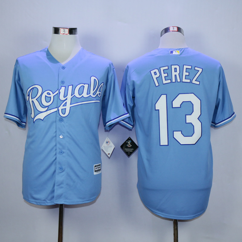MLB Kansas City Royals 13 Salvador Perez Light Blue 2015 Jerseys