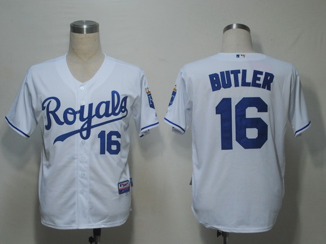 MLB Kansas City Royals 16 Billy Butler White Jerseys