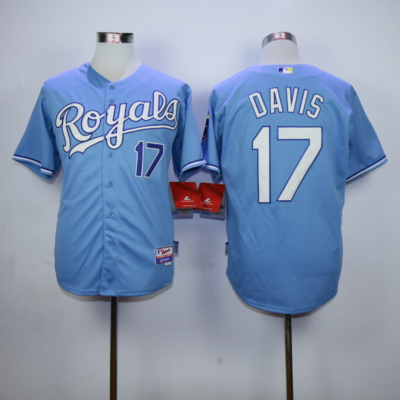 MLB Kansas City Royals 17 Davis Light Blue 2015 Jerseys.