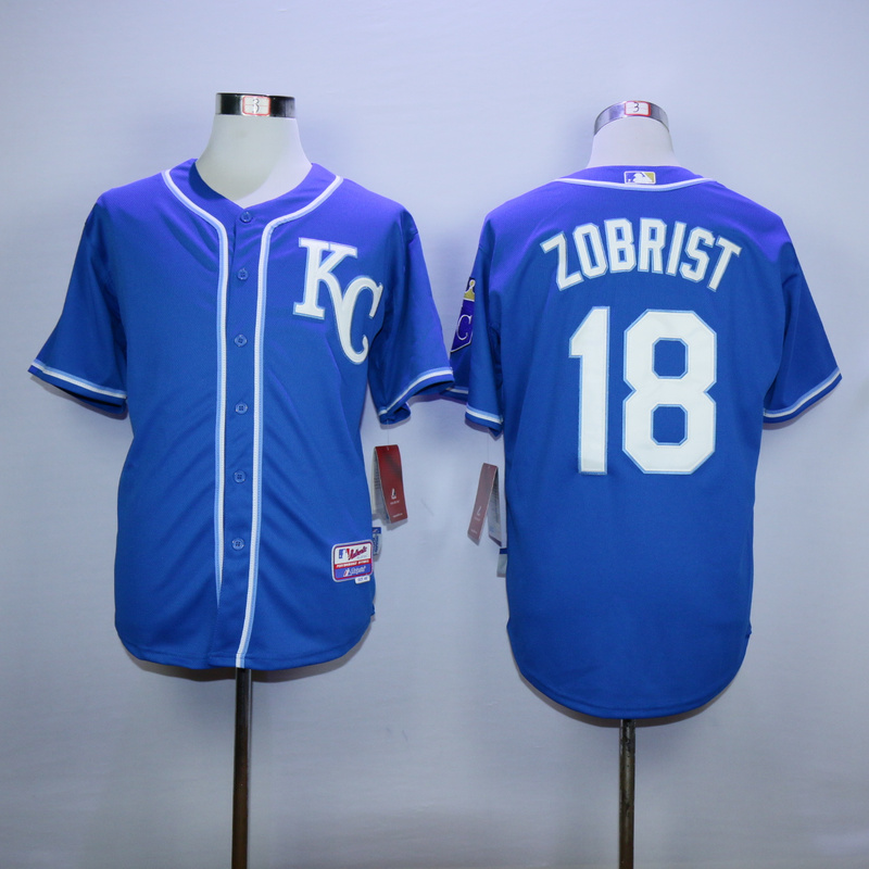 MLB Kansas City Royals 18 Zobrist Blue 2015 Jerseys