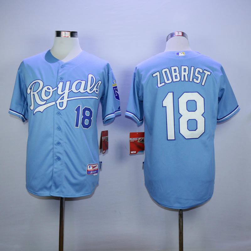 MLB Kansas City Royals 18 Zobrist Light Blue 2015 Jerseys