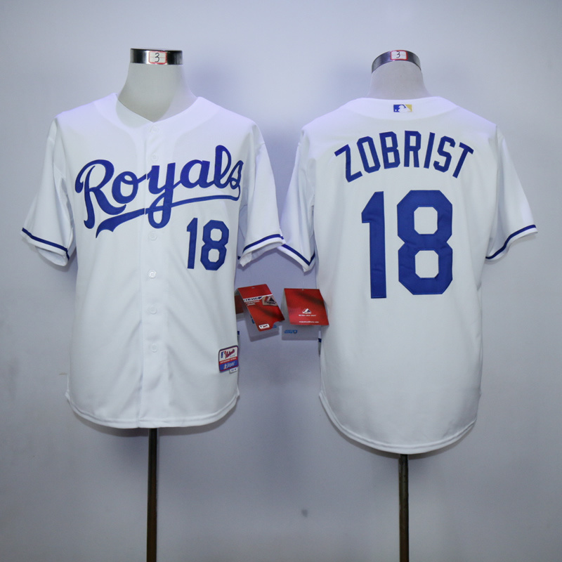 MLB Kansas City Royals 18 Zobrist White 2015 Jerseys