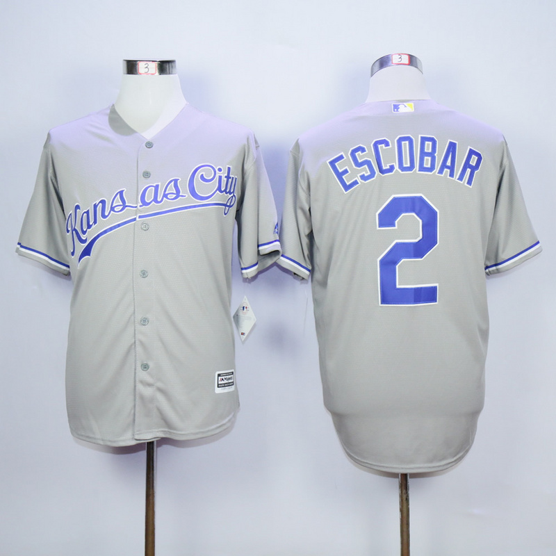 MLB Kansas City Royals 2 Alcides Escobar Grey 2015 Jerseys