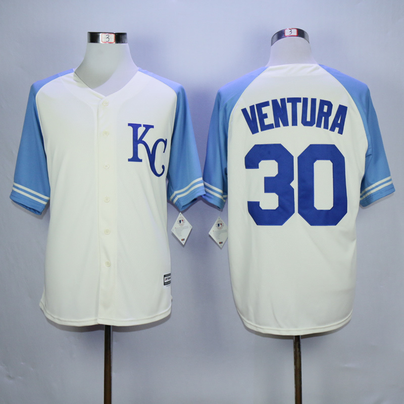 MLB Kansas City Royals 30 Ventura 2015 Cool Base Vintage Jersey.