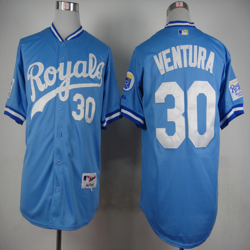 MLB Kansas City Royals 30 Yordano Ventura Light Blue 1985 Jerseys