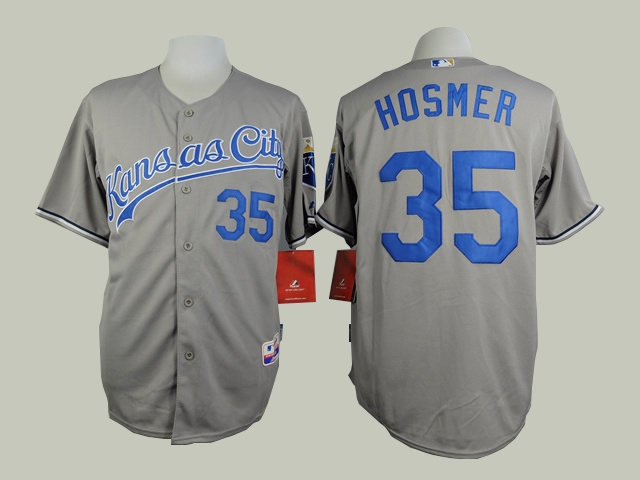 MLB Kansas City Royals 35 Eric Hosmer Grey Jerseys