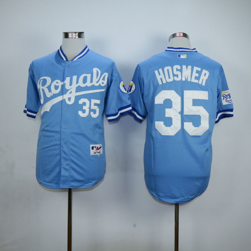 MLB Kansas City Royals 35 Eric Hosmer Light Blue Baseball Jerseys
