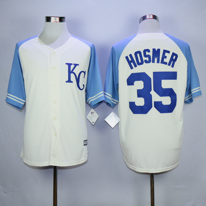 MLB Kansas City Royals 35 Hosmer 2015 Cool Base Vintage Jersey