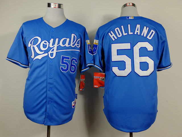 MLB Kansas City Royals 56 Greg Holland Blue Jerseys