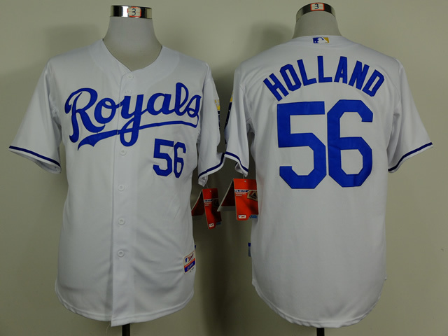 MLB Kansas City Royals 56 Greg Holland White Jerseys
