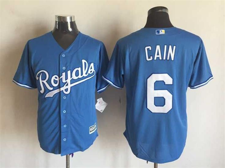 MLB Kansas City Royals 6 Lorenzo Cain Blue 2015 Jerseys