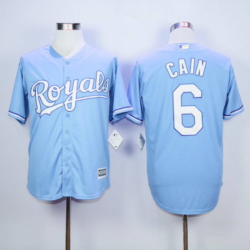 MLB Kansas City Royals 6 Lorenzo Cain Light Blue 2015 Jerseys