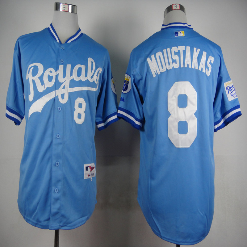 MLB Kansas City Royals 8 Mike Moustakas Light Blue 1985 Jerseys