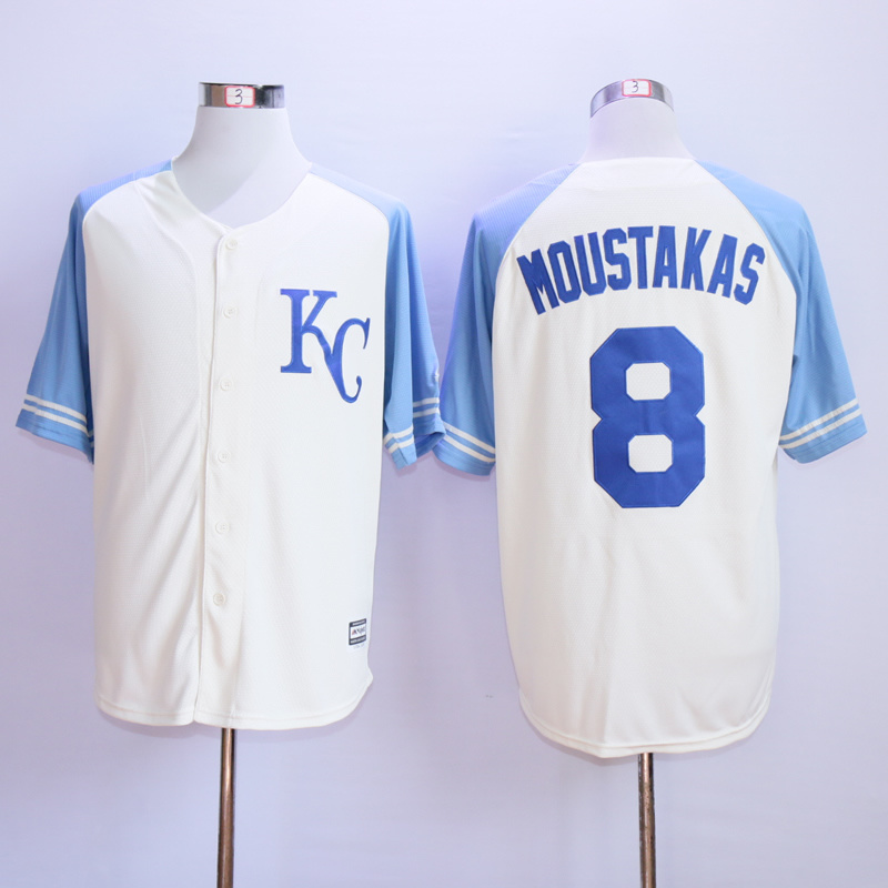 MLB Kansas City Royals 8 Moustakas 2015 Cool Base Vintage Jersey