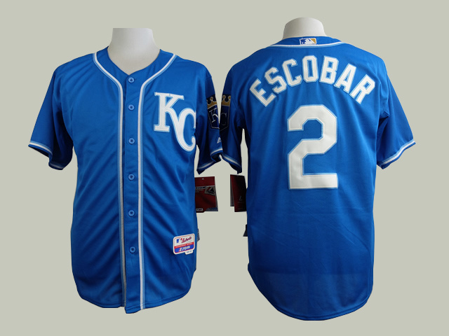 MLB Kansas Royals 2 Escobar Blue 2015 Jerseys