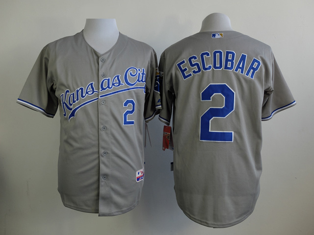 MLB Kansas Royals 2 Escobar Grey 2015 Jerseys