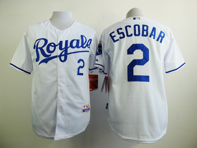 MLB Kansas Royals 2 Escobar White 2015 Jerseys