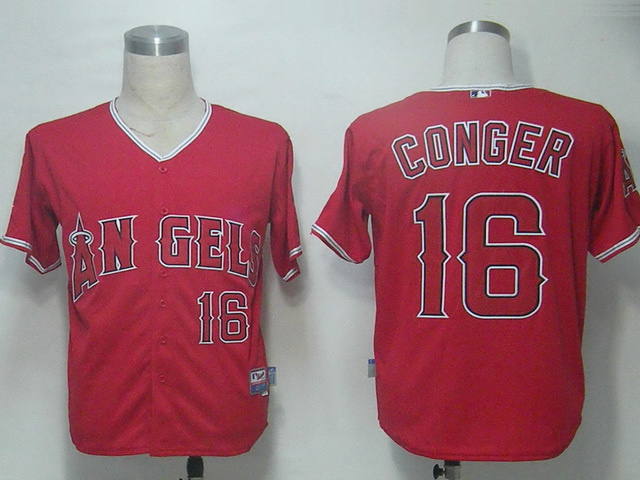 MLB Los Angeles Angels 16 Conger Red Jerseys