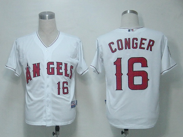 MLB Los Angeles Angels 16 Conger White Jerseys