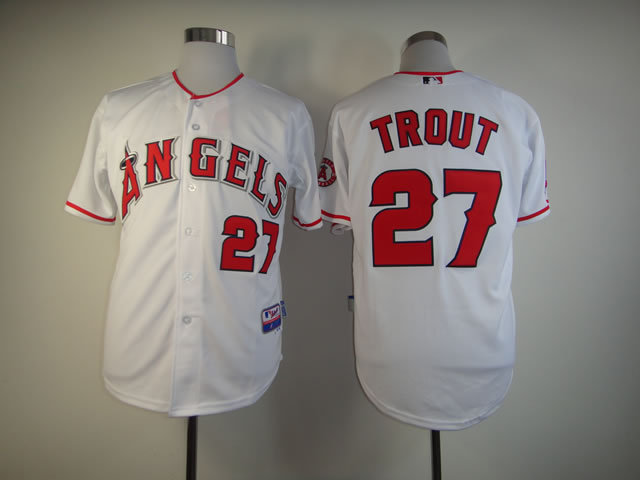 MLB Los Angeles Angels 27 Mike Trout White Jerseys
