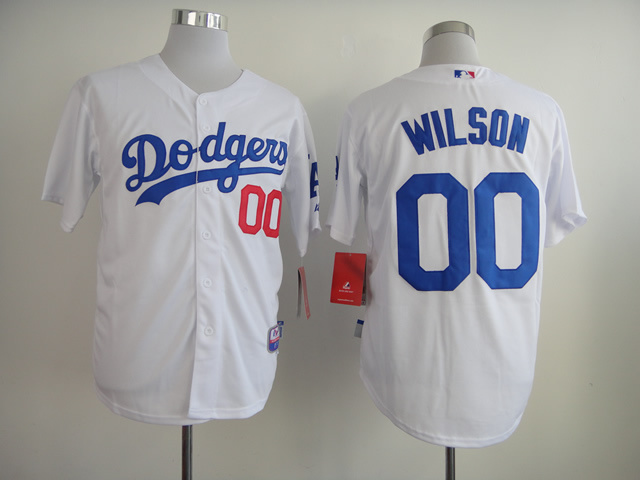 MLB Los Angeles Dodgers 00 Wilson White Jerseys
