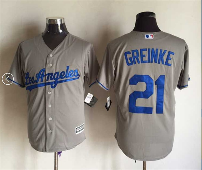MLB Los Angeles Dodgers 21 Zack Greinke Gray Grey 2015 Jerseys