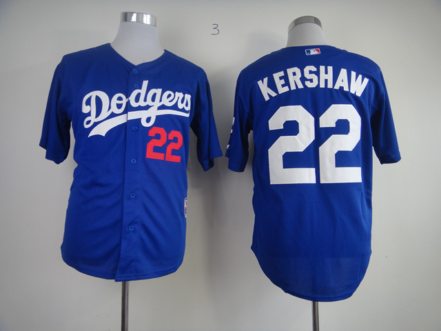 MLB Los Angeles Dodgers 22 Clayton Kershaw Blue Jerseys