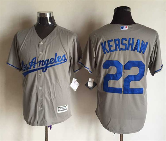 MLB Los Angeles Dodgers 22 Clayton Kershaw Grey 2015 Jerseys