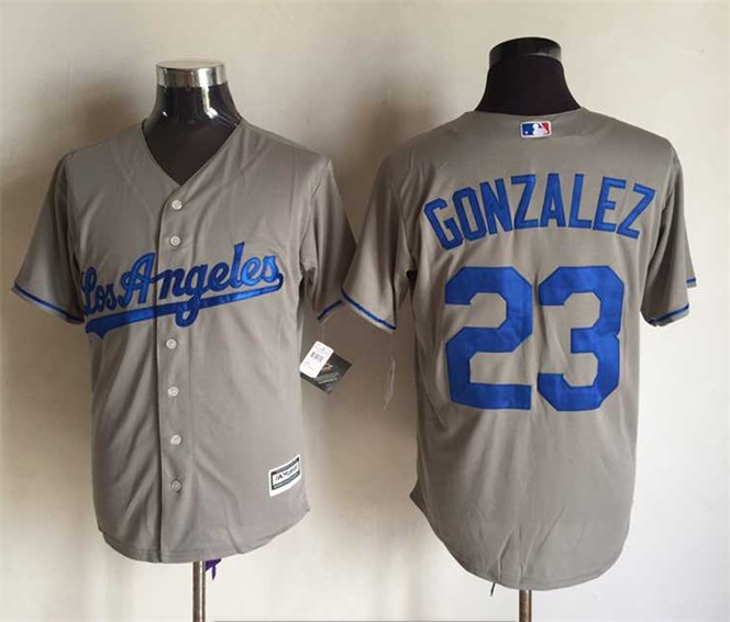 MLB Los Angeles Dodgers 23 Gonzalez Grey 2015 Jerseys