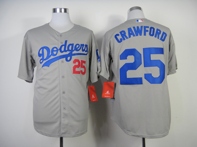 MLB Los Angeles Dodgers 25 Carl Crawford Gray Jerseys