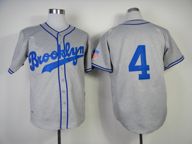 MLB Los Angeles Dodgers 4 Babe Herman 1945 Gray Grey Throwback Jerseys