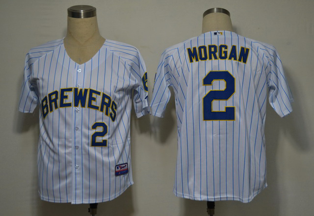 MLB Milwaukee Brewers 2 Morgan White stripes Jerseys