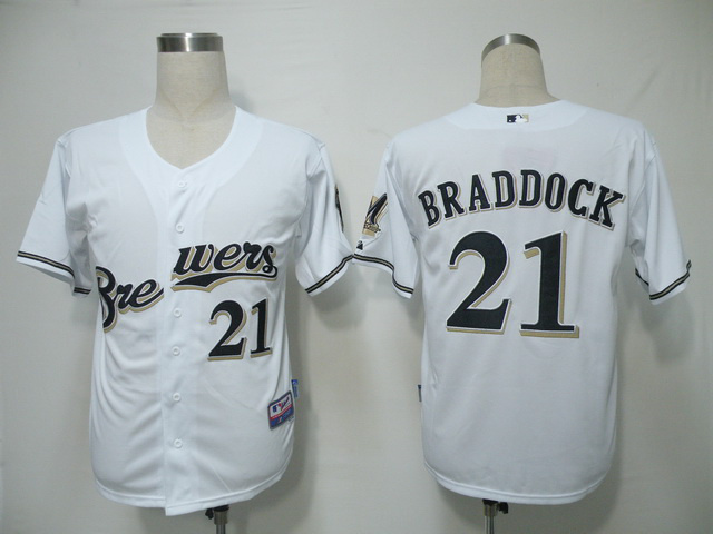 MLB Milwaukee Brewers 21 Braddock White Jerseys