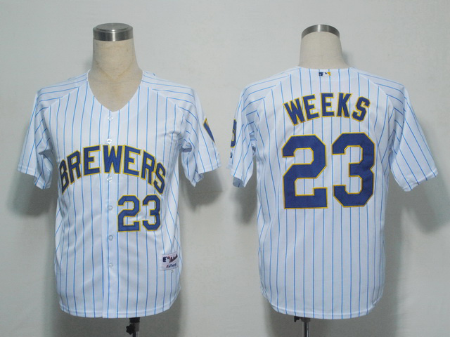 MLB Milwaukee Brewers 23 Weeks White stripes Jerseys
