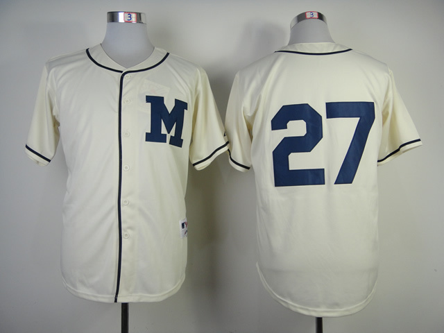 MLB Milwaukee Brewers 27 Carlos Gomez 1913 Turn Back The Clock Jersey