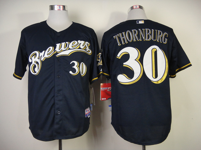MLB Milwaukee Brewers 30 Tyler Thornburg Blue Jerseys