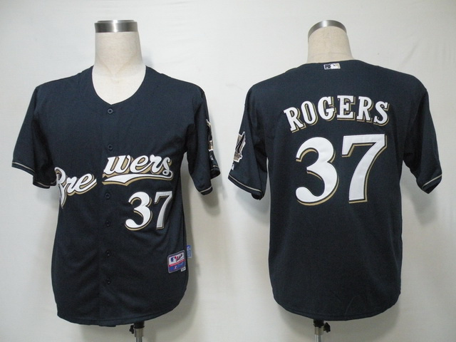 MLB Milwaukee Brewers 37 Rogers Blue Jerseys
