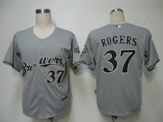 MLB Milwaukee Brewers 37 Rogers Grey Jerseys