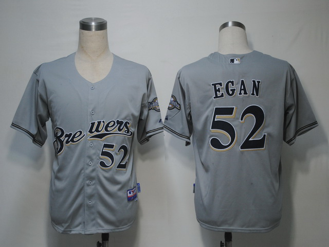 MLB Milwaukee Brewers 52 Egan Grey Jerseys