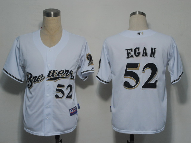 MLB Milwaukee Brewers 52 Egan White Jerseys