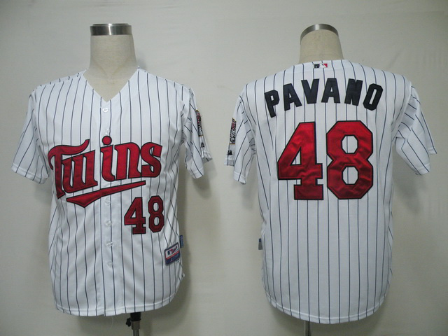 MLB Minnesota Twins 48 Pavano White Jerseys