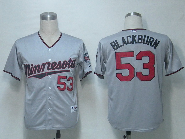 MLB Minnesota Twins 53 Blackburn Grey Jerseys