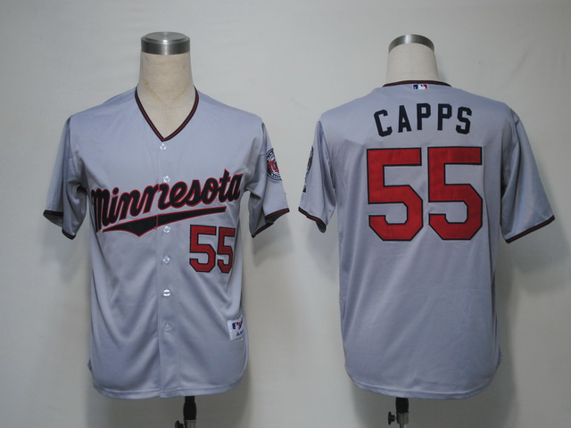 MLB Minnesota Twins 55 Capps Grey Jerseys
