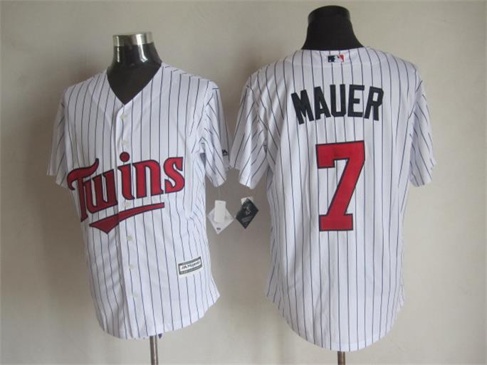 MLB Minnesota Twins 7 Joe Mauer White 2015 Jerseys