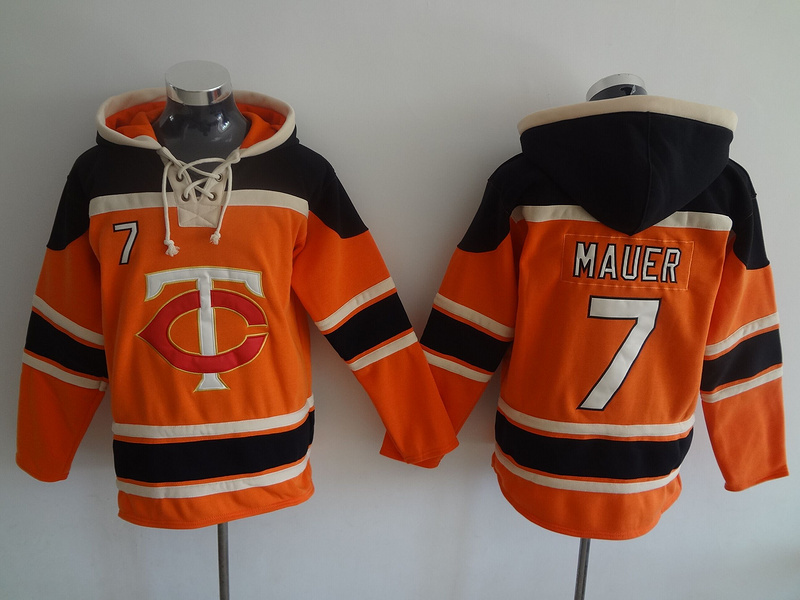 MLB Minnesota Twins 7 Mauer Orange Lace Up Pullover Hooded Sweatshirt