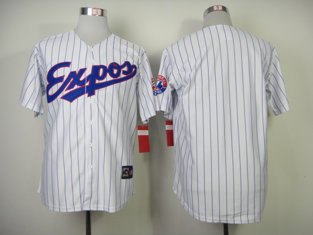 MLB Montreal Expos Blank White stripes Jerseys