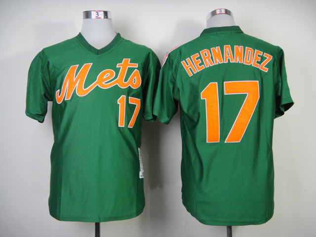 MLB New York Mets 17 Hernandez Green 1985 Throwback Jerseys