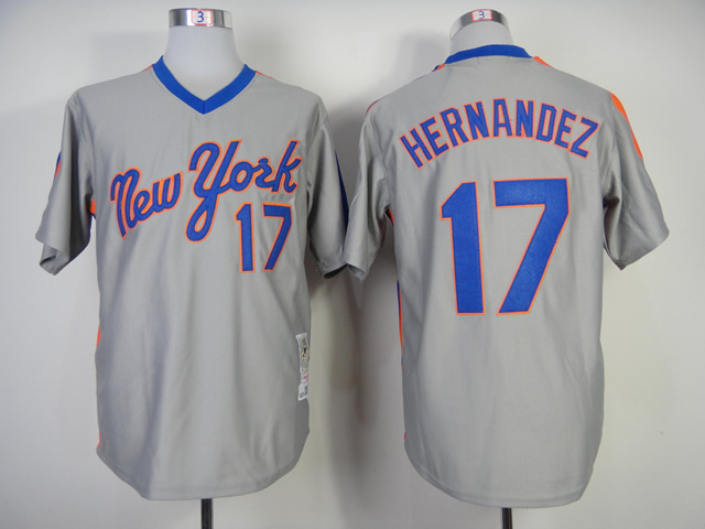 MLB New York Mets 17 Hernandez Grey Throwback Jerseys